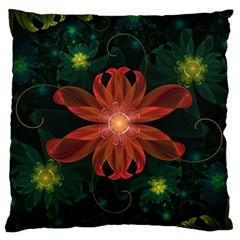Beautiful Red Passion Flower in a Fractal Jungle Standard Flano Cushion Case (One Side)
