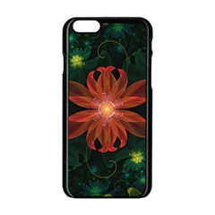 Beautiful Red Passion Flower in a Fractal Jungle Apple iPhone 6/6S Black Enamel Case