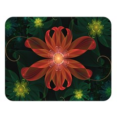 Beautiful Red Passion Flower in a Fractal Jungle Double Sided Flano Blanket (Large)