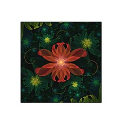 Beautiful Red Passion Flower in a Fractal Jungle Satin Bandana Scarf