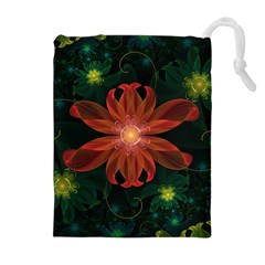 Beautiful Red Passion Flower In A Fractal Jungle Drawstring Pouches (extra Large)