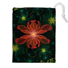 Beautiful Red Passion Flower In A Fractal Jungle Drawstring Pouches (xxl)