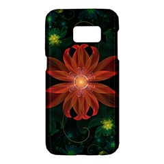 Beautiful Red Passion Flower In A Fractal Jungle Samsung Galaxy S7 Hardshell Case