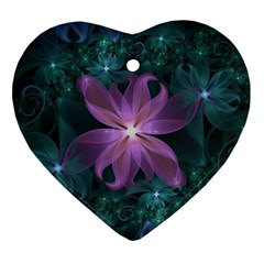 Pink and Turquoise Wedding Cremon Fractal Flowers Ornament (Heart)