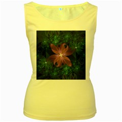 Pink and Turquoise Wedding Cremon Fractal Flowers Women s Yellow Tank Top