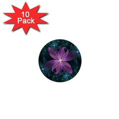 Pink and Turquoise Wedding Cremon Fractal Flowers 1  Mini Buttons (10 pack)