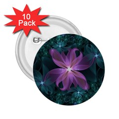 Pink and Turquoise Wedding Cremon Fractal Flowers 2.25  Buttons (10 pack)