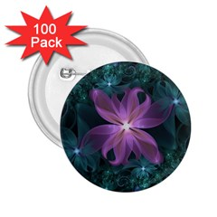 Pink and Turquoise Wedding Cremon Fractal Flowers 2.25  Buttons (100 pack)