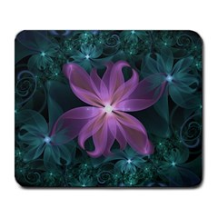 Pink and Turquoise Wedding Cremon Fractal Flowers Large Mousepads