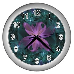 Pink and Turquoise Wedding Cremon Fractal Flowers Wall Clocks (Silver)