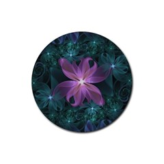 Pink and Turquoise Wedding Cremon Fractal Flowers Rubber Round Coaster (4 pack)