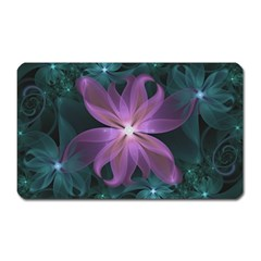 Pink and Turquoise Wedding Cremon Fractal Flowers Magnet (Rectangular)
