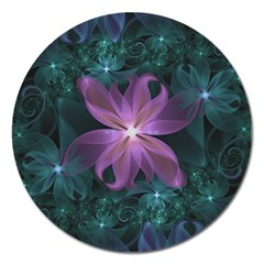 Pink and Turquoise Wedding Cremon Fractal Flowers Magnet 5  (Round)