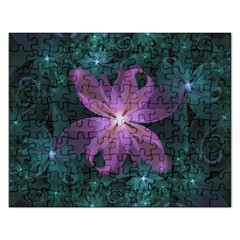 Pink and Turquoise Wedding Cremon Fractal Flowers Rectangular Jigsaw Puzzl