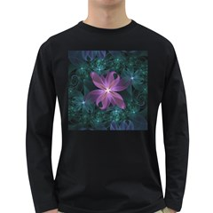 Pink and Turquoise Wedding Cremon Fractal Flowers Long Sleeve Dark T-Shirts