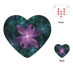Pink and Turquoise Wedding Cremon Fractal Flowers Playing Cards (Heart)