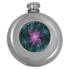 Pink and Turquoise Wedding Cremon Fractal Flowers Round Hip Flask (5 oz)