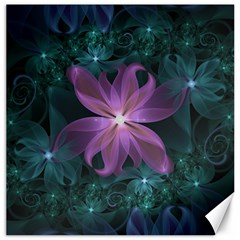 Pink and Turquoise Wedding Cremon Fractal Flowers Canvas 20  x 20