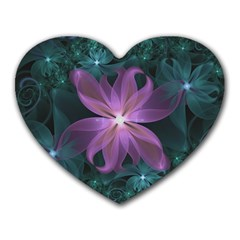 Pink and Turquoise Wedding Cremon Fractal Flowers Heart Mousepads