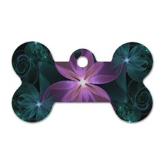 Pink and Turquoise Wedding Cremon Fractal Flowers Dog Tag Bone (Two Sides)