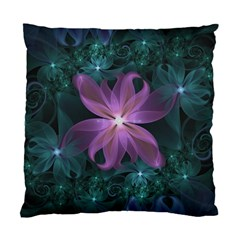Pink And Turquoise Wedding Cremon Fractal Flowers Standard Cushion Case (one Side)