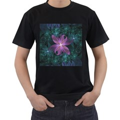 Pink and Turquoise Wedding Cremon Fractal Flowers Men s T-Shirt (Black)