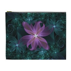 Pink and Turquoise Wedding Cremon Fractal Flowers Cosmetic Bag (XL)