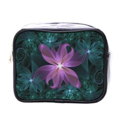Pink and Turquoise Wedding Cremon Fractal Flowers Mini Toiletries Bags