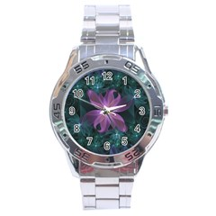Pink and Turquoise Wedding Cremon Fractal Flowers Stainless Steel Analogue Watch