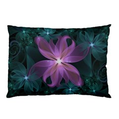 Pink and Turquoise Wedding Cremon Fractal Flowers Pillow Case (Two Sides)