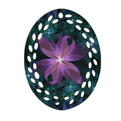 Pink and Turquoise Wedding Cremon Fractal Flowers Oval Filigree Ornament (Two Sides)