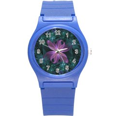 Pink and Turquoise Wedding Cremon Fractal Flowers Round Plastic Sport Watch (S)