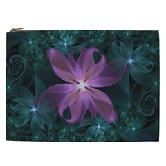 Pink and Turquoise Wedding Cremon Fractal Flowers Cosmetic Bag (XXL)
