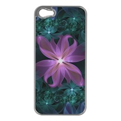 Pink and Turquoise Wedding Cremon Fractal Flowers Apple iPhone 5 Case (Silver)