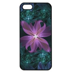 Pink and Turquoise Wedding Cremon Fractal Flowers Apple iPhone 5 Seamless Case (Black)