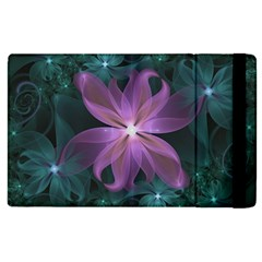 Pink and Turquoise Wedding Cremon Fractal Flowers Apple iPad 2 Flip Case