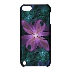 Pink and Turquoise Wedding Cremon Fractal Flowers Apple iPod Touch 5 Hardshell Case with Stand