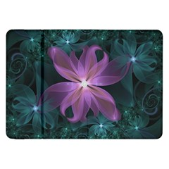 Pink and Turquoise Wedding Cremon Fractal Flowers Samsung Galaxy Tab 8.9  P7300 Flip Case
