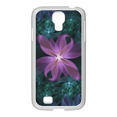 Pink and Turquoise Wedding Cremon Fractal Flowers Samsung GALAXY S4 I9500/ I9505 Case (White)