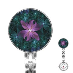 Pink and Turquoise Wedding Cremon Fractal Flowers Stainless Steel Nurses Watch