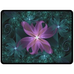 Pink and Turquoise Wedding Cremon Fractal Flowers Double Sided Fleece Blanket (Large)