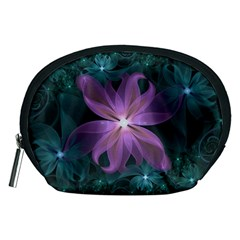 Pink and Turquoise Wedding Cremon Fractal Flowers Accessory Pouches (Medium)