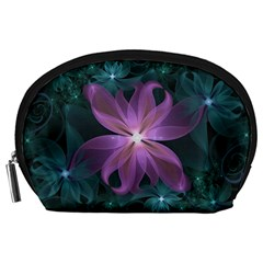 Pink and Turquoise Wedding Cremon Fractal Flowers Accessory Pouches (Large)
