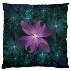Pink and Turquoise Wedding Cremon Fractal Flowers Standard Flano Cushion Case (Two Sides)