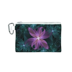 Pink and Turquoise Wedding Cremon Fractal Flowers Canvas Cosmetic Bag (S)