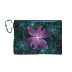 Pink and Turquoise Wedding Cremon Fractal Flowers Canvas Cosmetic Bag (M)