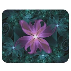 Pink and Turquoise Wedding Cremon Fractal Flowers Double Sided Flano Blanket (Medium)