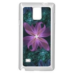 Pink and Turquoise Wedding Cremon Fractal Flowers Samsung Galaxy Note 4 Case (White)