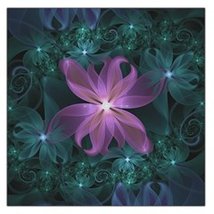 Pink and Turquoise Wedding Cremon Fractal Flowers Large Satin Scarf (Square)