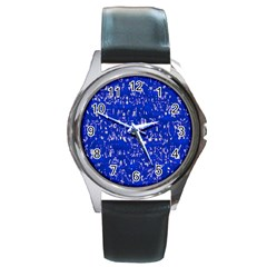 Glossy Abstract Blue Round Metal Watch